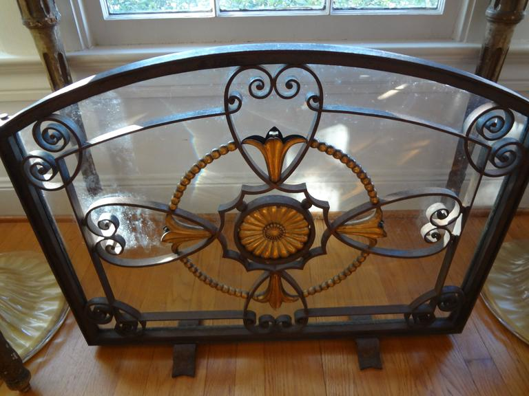 Rare Antique French Art Deco hand-forged wrought iron and glass fireplace screen/firescreen signed SZABO, Adalbert Szabo was a contemporary of Edgar Brandt, Paul Kiss and Raymond Subes and considered one of the finest Artisans of the French Art Deco