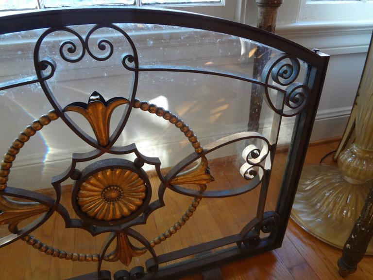 French Art Deco Wrought Iron Fireplace Screen By Szabo, Circa. 1925 For Sale 3