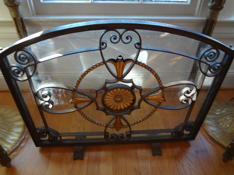 French Art Deco Wrought Iron Fireplace Screen By Szabo, Circa. 1925 For Sale 4