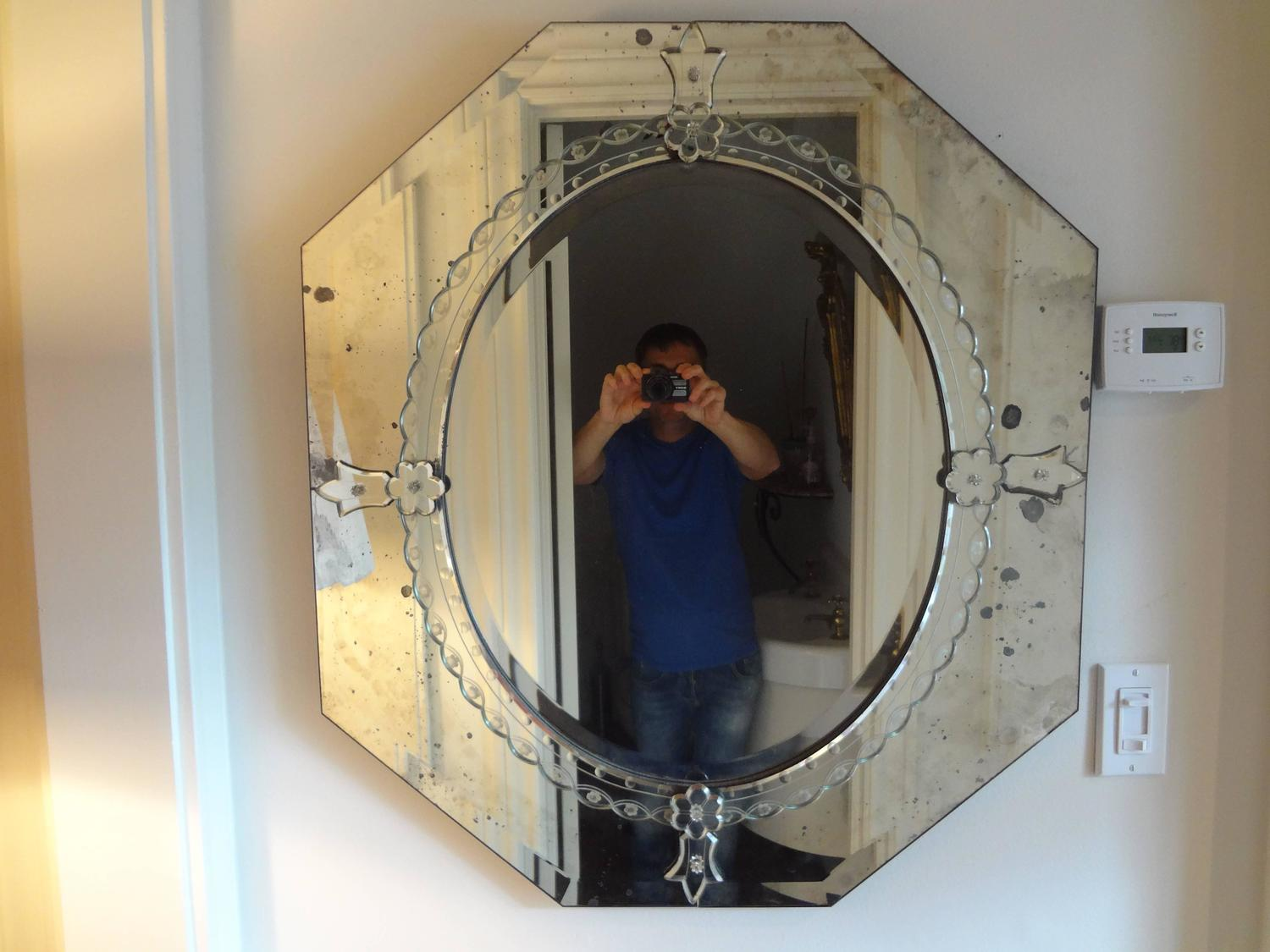Octagonal Beveled And Etched Vintage Venetian Glass Mirror