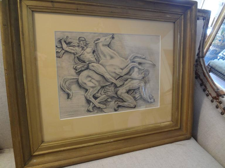 French Art Deco Black and White Framed Drawing In Good Condition For Sale In Houston, TX