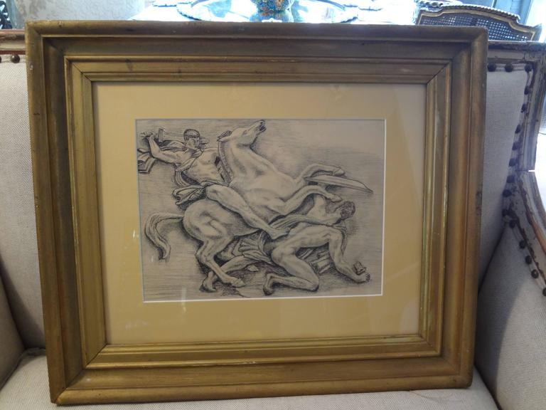 Paper French Art Deco Black and White Framed Drawing For Sale