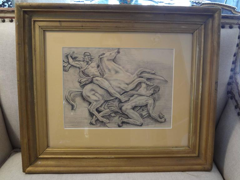French Art Deco Black and White Framed Drawing For Sale 1