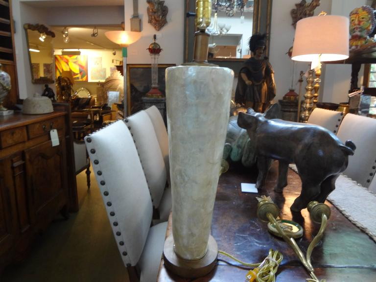 Vintage Capiz Shell Lamp In Good Condition For Sale In Houston, TX