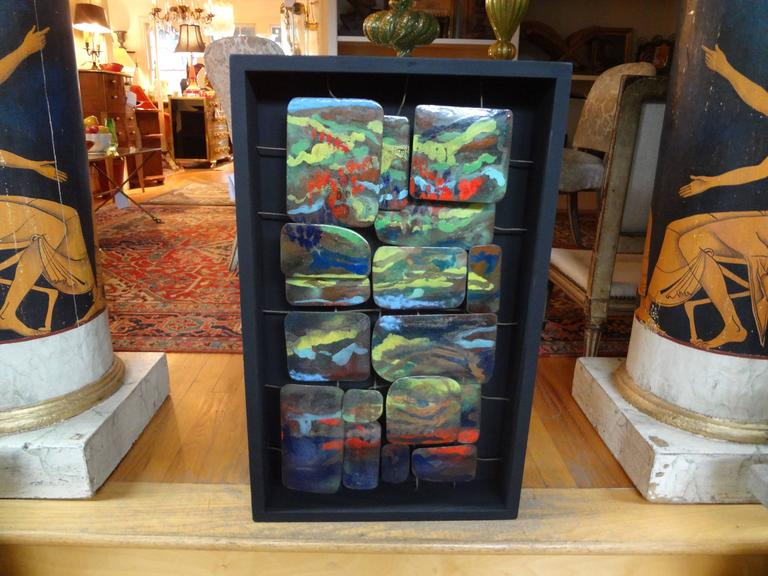 Mid-Century Modern Colorful Abstract Enamel Sculpture For Sale 1