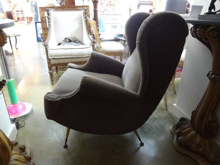 Pair of Midcentury Italian Gio Ponti Inspired Lounge Chairs or Armchairs In Good Condition For Sale In Houston, TX