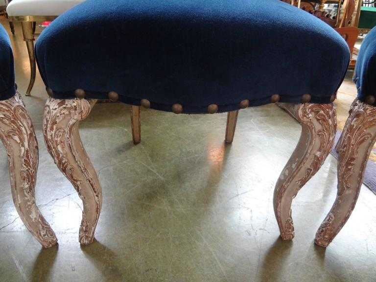 Set of Six Antique French Louis XV-XVI Style Painted and Gilt Dining Chairs In Good Condition For Sale In Houston, TX