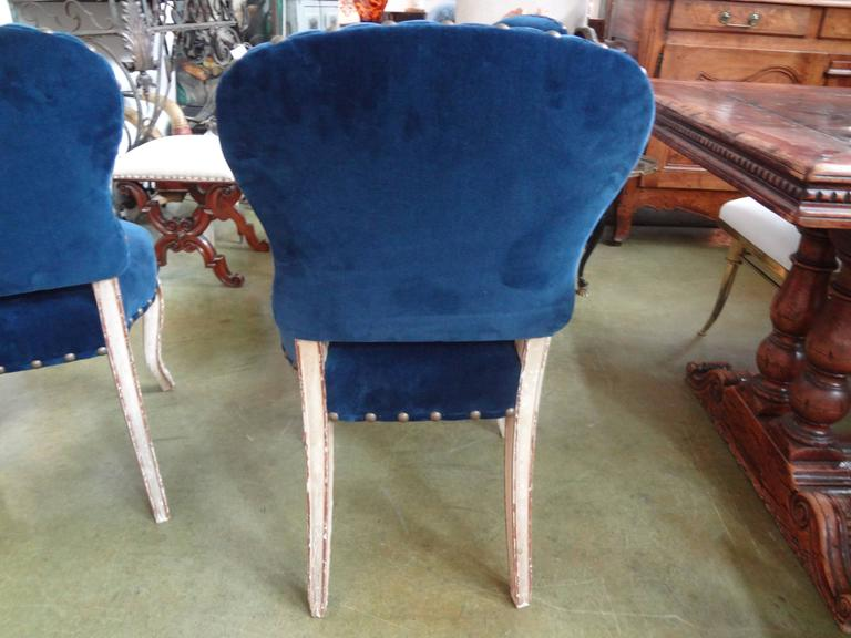 Set of Six Antique French Louis XV-XVI Style Painted and Gilt Dining Chairs For Sale 1