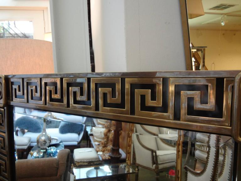 Brass Greek Key Beveled Mirror by Mastercraft 3