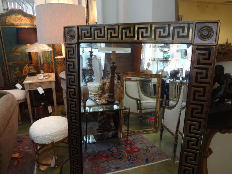 Brass Greek Key Beveled Mirror by Mastercraft 5
