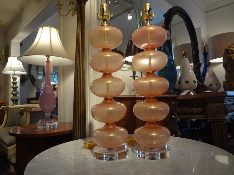 Pair Of  Italian Murano Glass Lamps, Peach Infused With Gold By Balboa 3