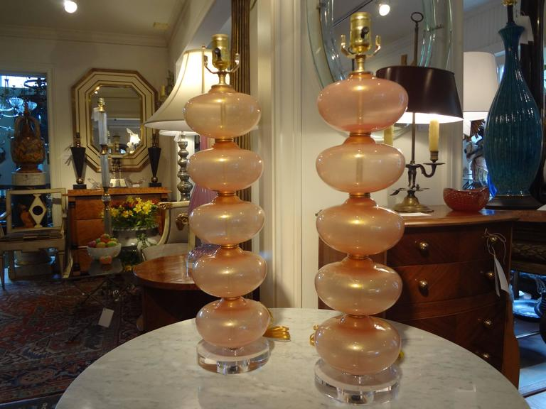Pair Of  Italian Murano Glass Lamps, Peach Infused With Gold By Balboa 4