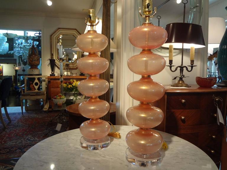 Pair Of  Italian Murano Glass Lamps, Peach Infused With Gold By Balboa 5
