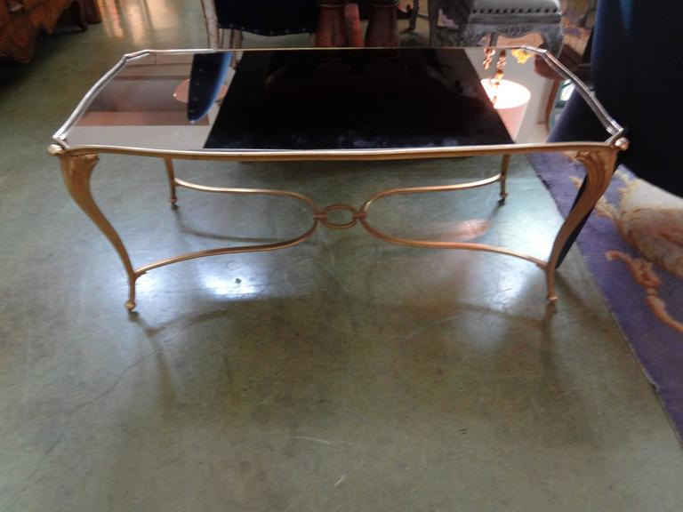 Louis XVI French Gilt Bronze Cocktail Table with Mirrored Top, Maison Baguès Attributed For Sale
