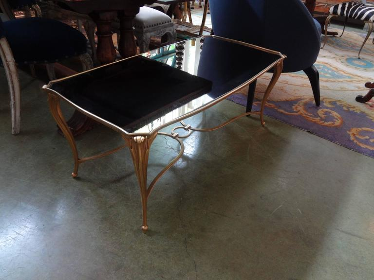 French Gilt Bronze Cocktail Table with Mirrored Top, Maison Baguès Attributed For Sale 1