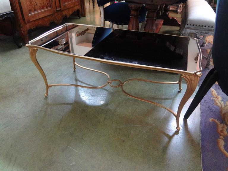 French Gilt Bronze Cocktail Table with Mirrored Top, Maison Baguès Attributed For Sale 2