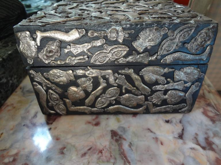 Folk Art Vintage Mexican Wood Box Embellished With Milagros For Sale
