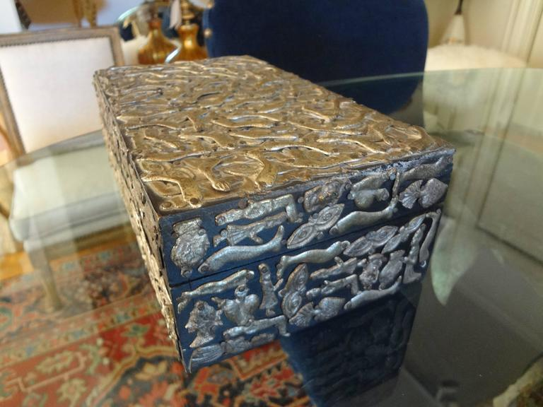 Mid-20th Century Vintage Mexican Wood Box Embellished with Milagros For Sale