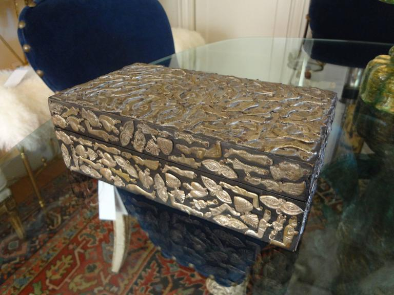 Metal Vintage Mexican Wood Box Embellished with Milagros For Sale