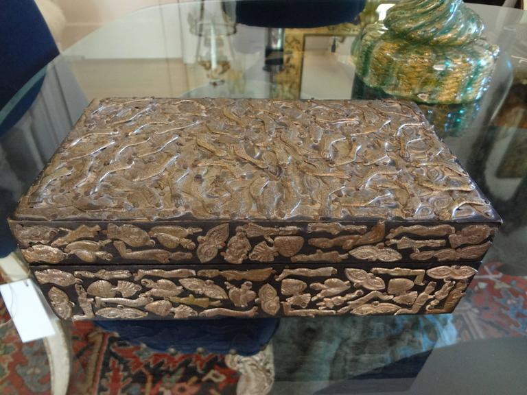 Vintage Mexican Wood Box Embellished With Milagros For Sale 1