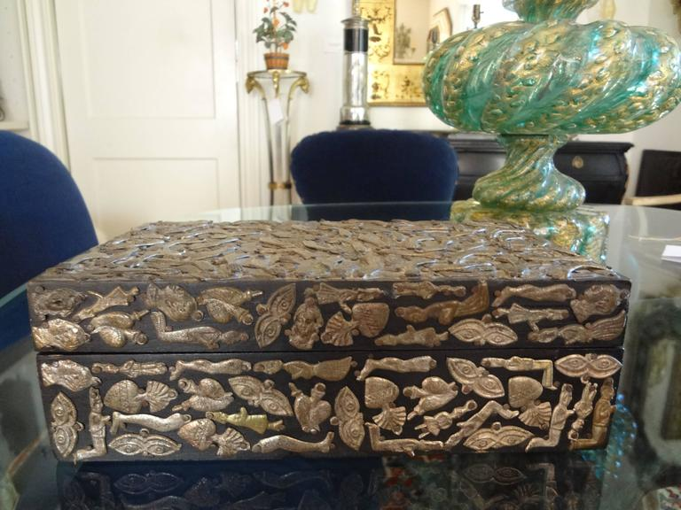 Vintage Mexican Wood Box Embellished With Milagros For Sale 2