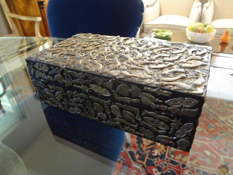 Vintage Mexican Wood Box Embellished with Milagros For Sale 3