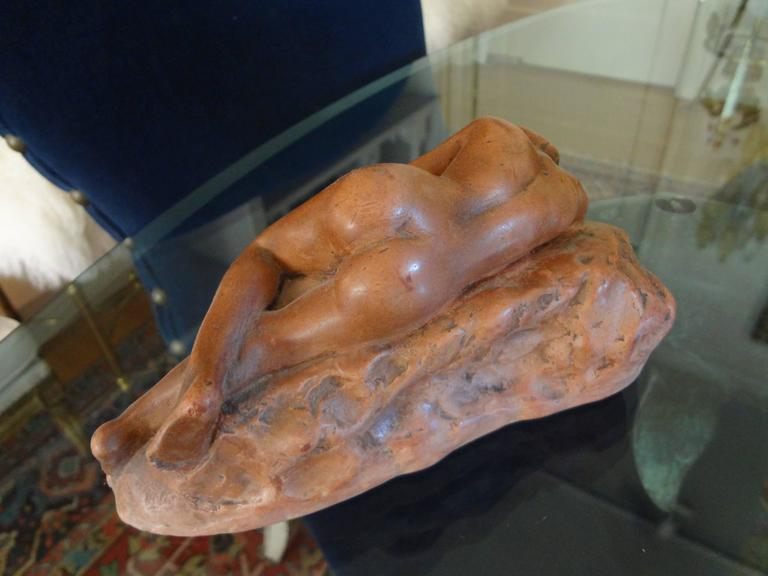 Antique French Patinated Terracotta Nude Sculpture In Good Condition For Sale In Houston, TX