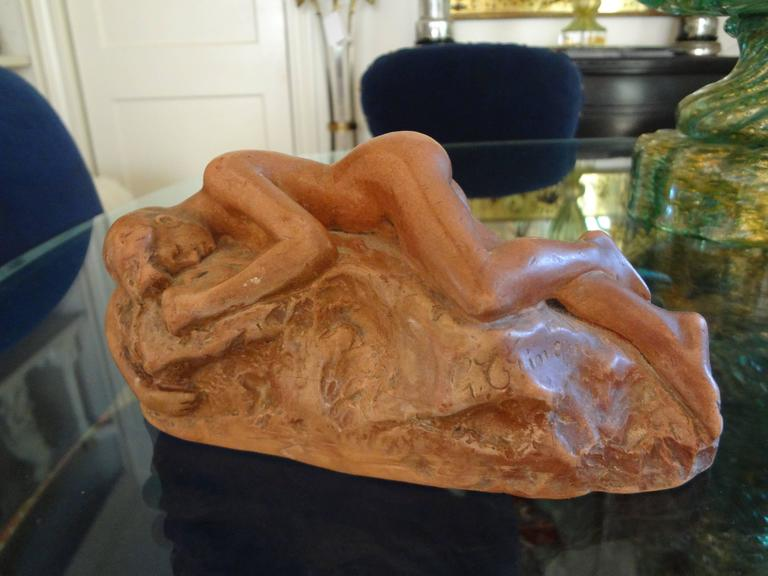 Antique French Patinated Terracotta Nude Sculpture For Sale 3
