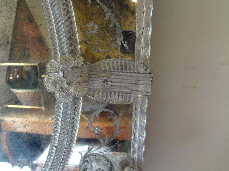 Antique Octagonal Etched Venetian Glass Mirror In Good Condition For Sale In Houston, TX