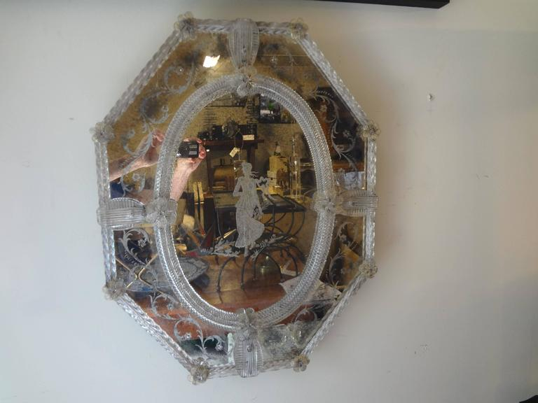 Antique Octagonal Etched Venetian Glass Mirror For Sale 2