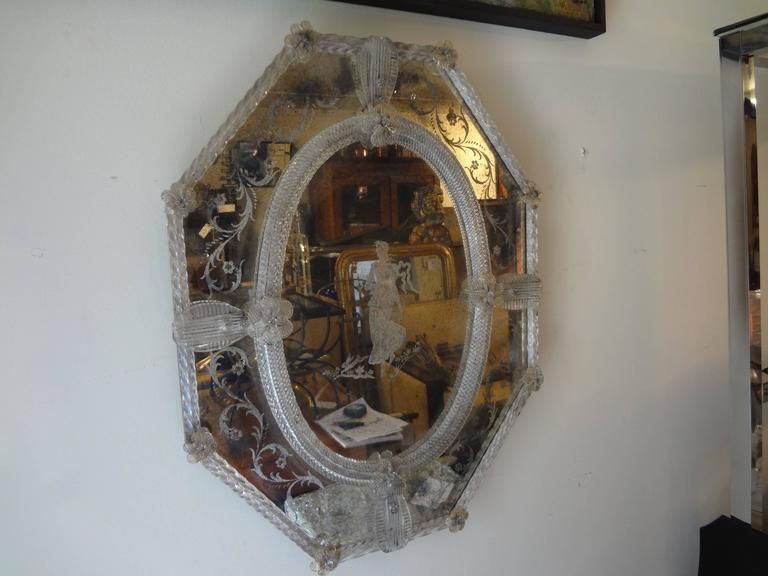 Antique Octagonal Etched Venetian Glass Mirror For Sale 3