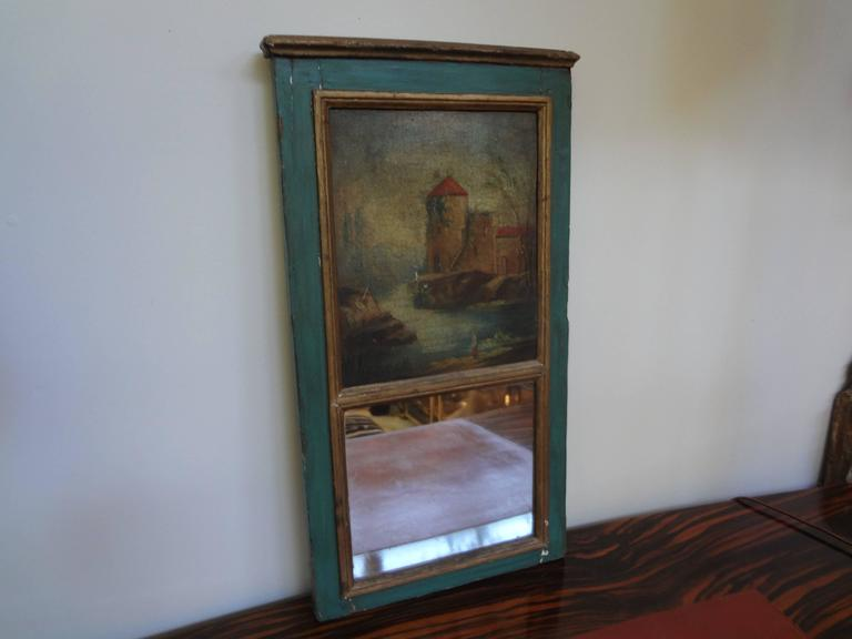 Diminutive Antique French Louis XVI Style Trumeau In Good Condition For Sale In Houston, TX