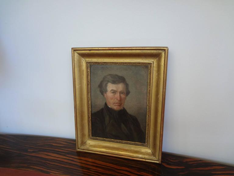 Early 19th Century Antique French Empire Portrait Oil on Canvas in Giltwood Frame For Sale