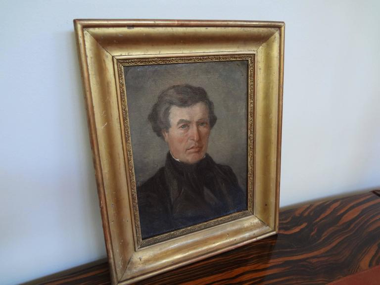 Antique French Empire Portrait Oil on Canvas in Giltwood Frame For Sale 1