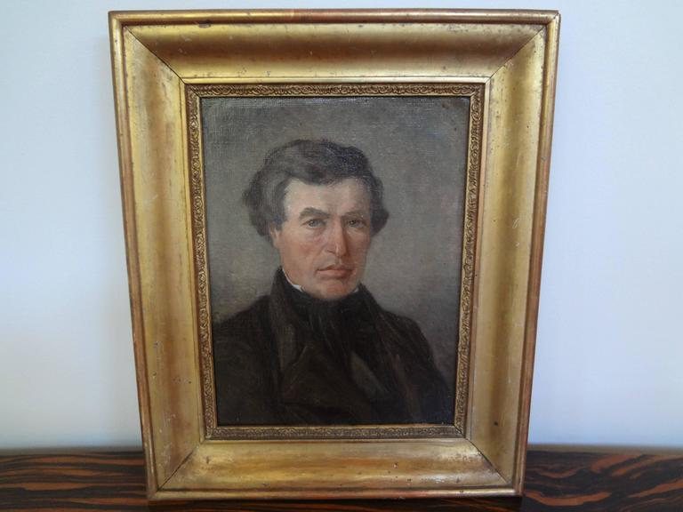 Antique French Empire Portrait Oil on Canvas in Giltwood Frame For Sale 3
