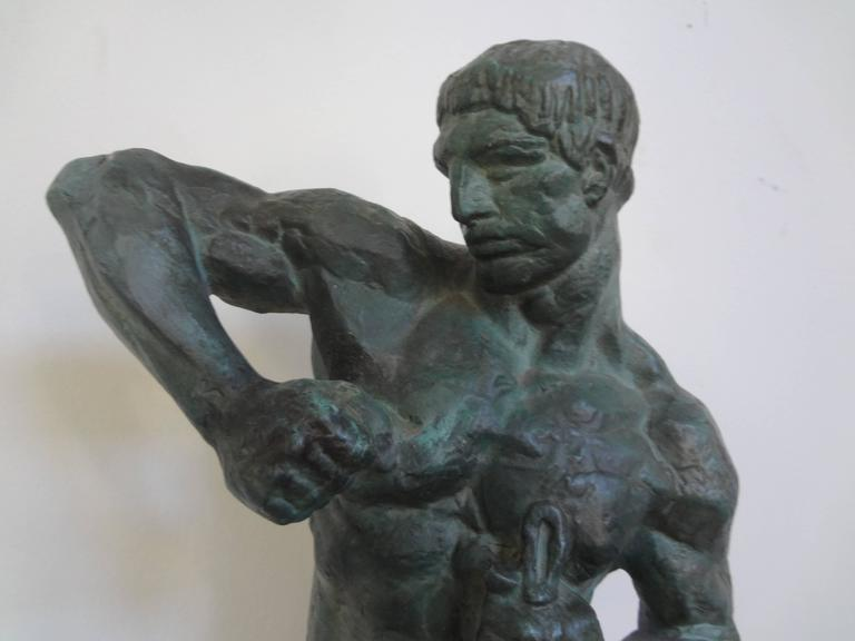 French Art Deco Terracotta Athlete Sculpture by Bargas In Good Condition For Sale In Houston, TX