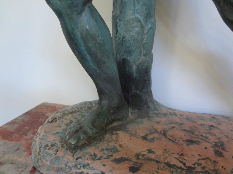 Mid-20th Century French Art Deco Terracotta Athlete Sculpture by Bargas For Sale