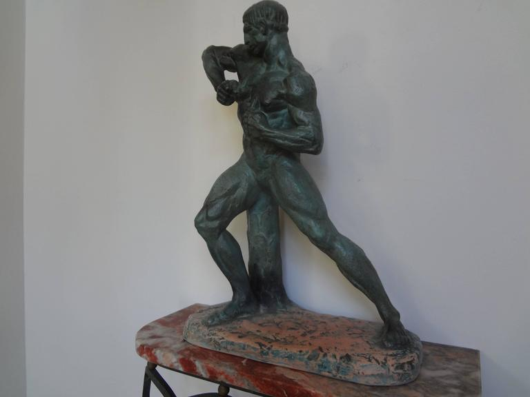 French Art Deco Terracotta Athlete Sculpture by Bargas For Sale 2