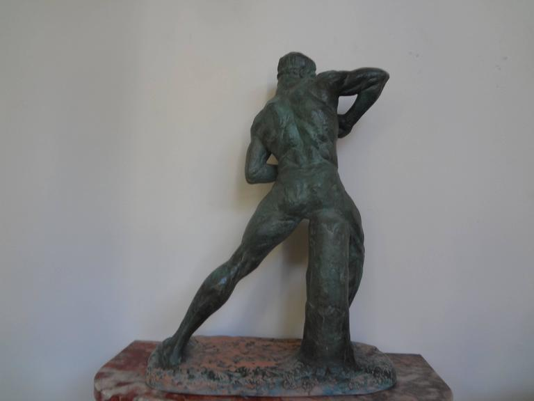 French Art Deco Terracotta Athlete Sculpture by Bargas For Sale 1