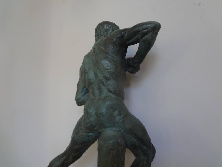 French Art Deco Terracotta Athlete Sculpture by Bargas For Sale 3