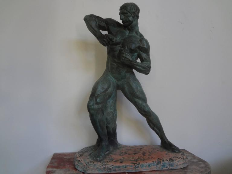 French Art Deco Terracotta Athlete Sculpture by Bargas For Sale 4