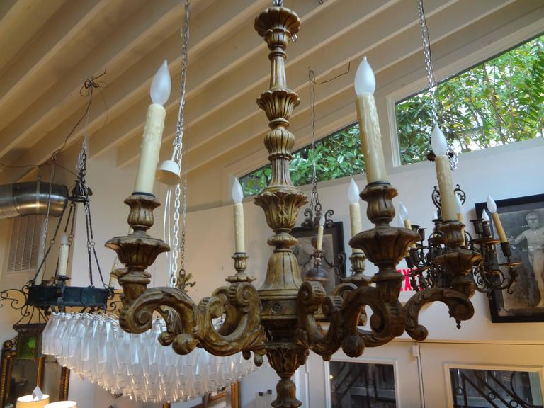 Antique Italian Six-Arm Carved Wood Chandelier In Good Condition For Sale In Houston, TX
