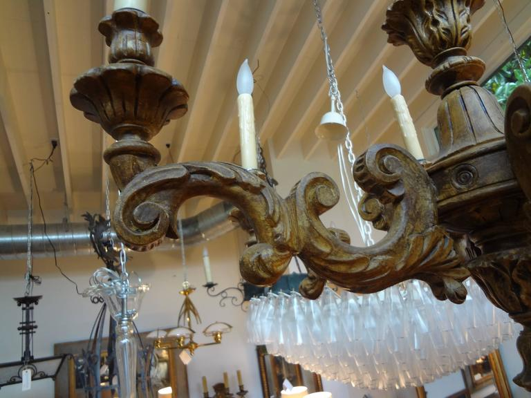 Early 20th Century Antique Italian Six-Arm Carved Wood Chandelier For Sale