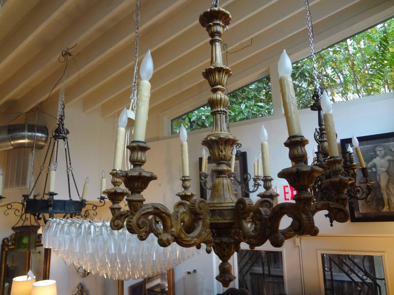 Antique Italian Six-Arm Carved Wood Chandelier For Sale 2
