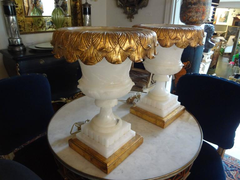 Early 20th Century Pair of Italian Alabaster Urn Lamps on Giltwood Bases For Sale