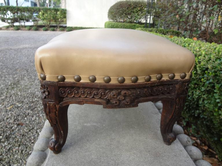 19th Century Antique French Louis XV-XVI Style Footstool For Sale