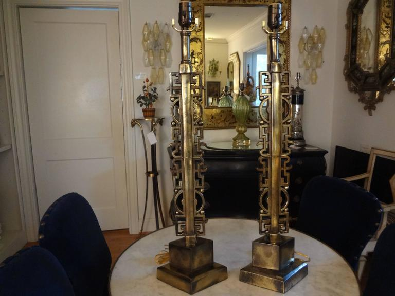 Pair of James Mont Style Asian Modern Brass Lamps 2