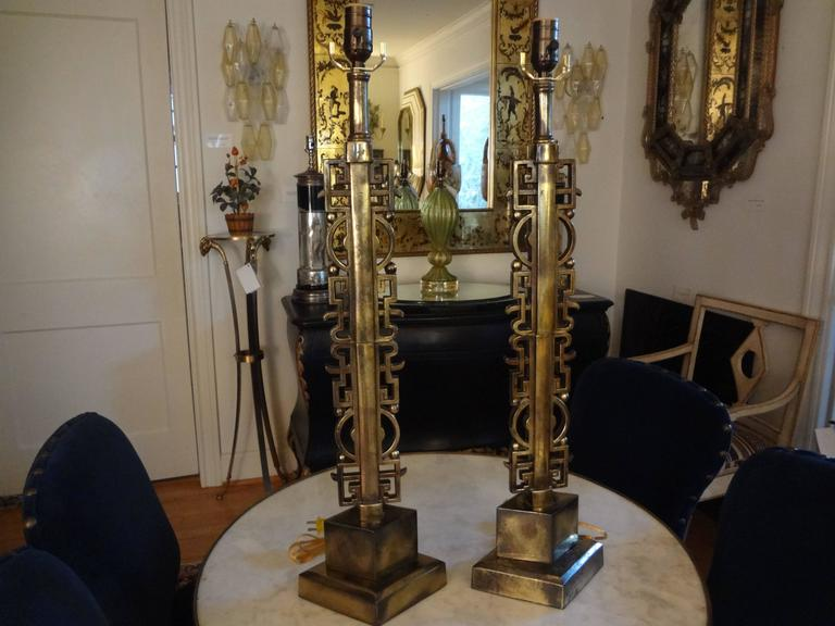 Pair of James Mont Style Asian Modern Brass Lamps 7