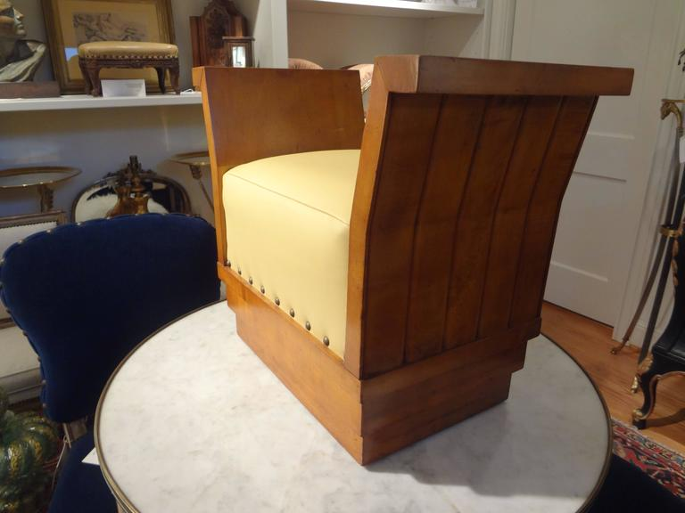 French Art Deco Geometric Ottoman Upholstered in Leather In Good Condition For Sale In Houston, TX