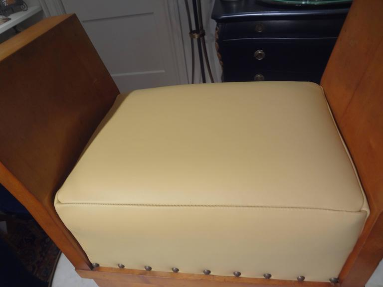 Early 20th Century French Art Deco Geometric Ottoman Upholstered in Leather For Sale
